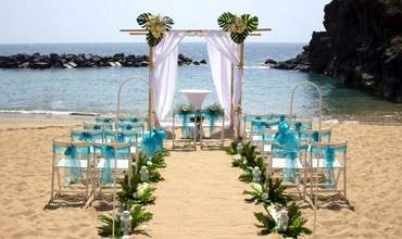 Beautiful beach wedding decoration in Tenerife