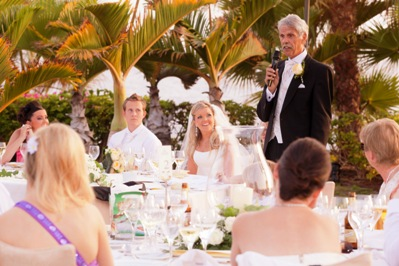 The Guests And Bridal Couple Enjoy Reception Meal Funny Speech Of Brides Dad