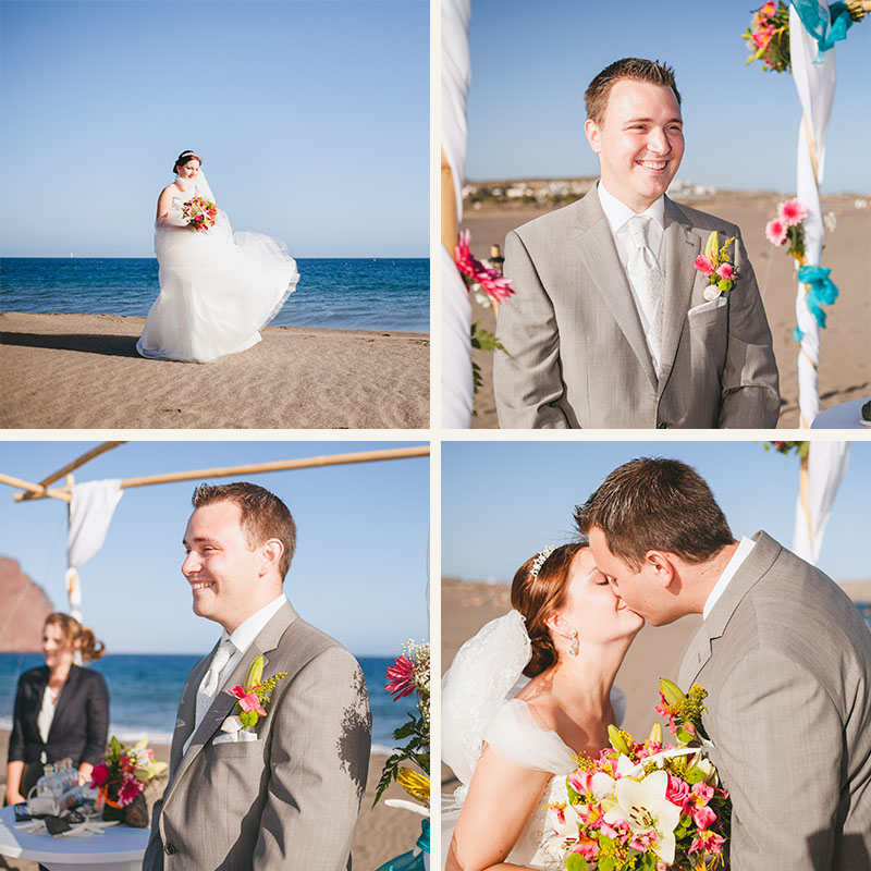 Bride And Groom Enjoying Amazing Sunset On A Beautiful: Amazing Beach Wedding Ending With One Of Tenerife's