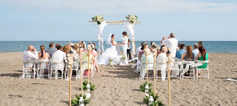 Stunning Same Beach Wedding With Bamboo Set Up In Tenerife