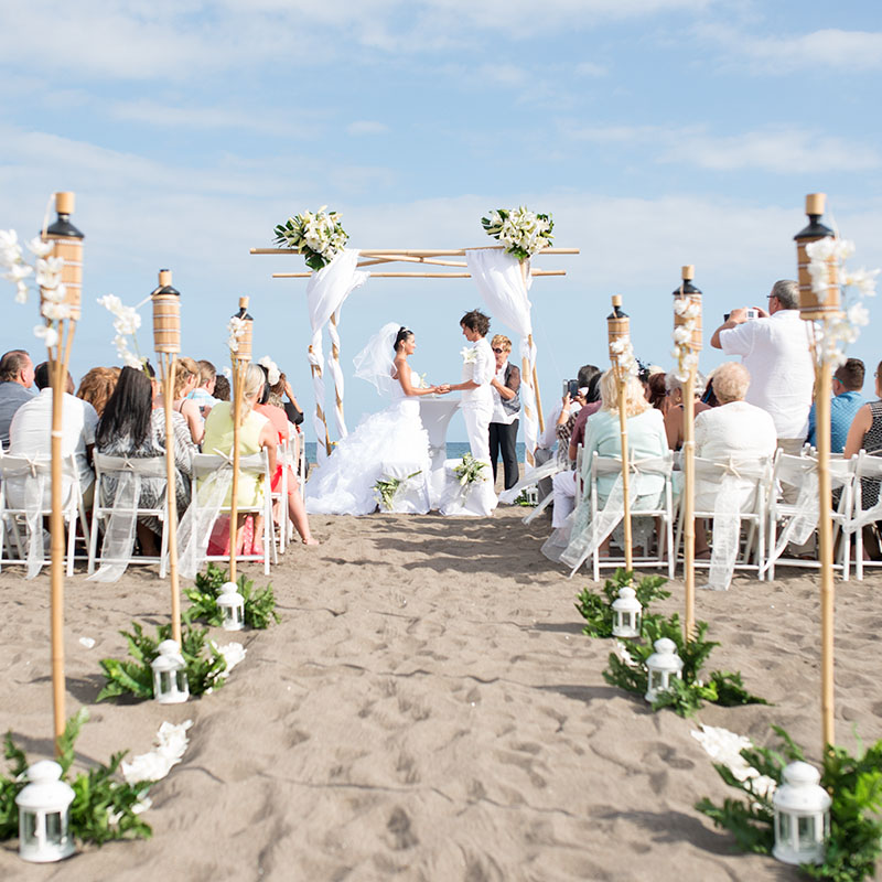 Beach Wedding Altar Decorations: Stunning Same Sex Beach Wedding With Bamboo Set-Up In Tenerife