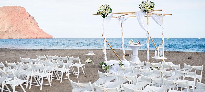 Beautiful White Wedding Gazebo Setup On The Beach Front
